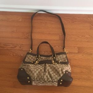 Gucci Totes Bag Brown and Cream.
